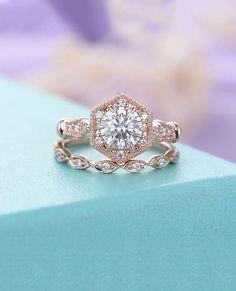 Moissanite engagement ring set Rose gold engagement ring