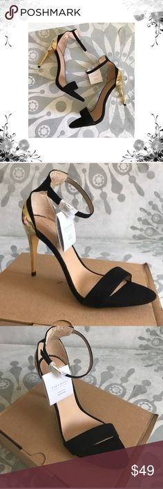 {Zara} Euro Sz 8 Black/Gold Metallic Heels Euro Sz Sz Manufacturer Color is Black/Gold. New with box. Heel Height is 4 Platform Height is Buckle Closure. Textile/Leather/Man Made materials. Thank you for shopping my closet! Zara Shoes, Shoes Heels, Metallic Heels, Must Have Items, Zara Black, Fashion Tips, Fashion Design, Fashion Trends, Leather Men