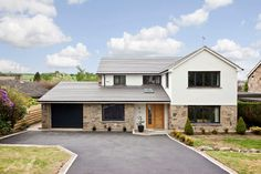 The Congreves, Leeds - Traditional - Exterior - yorkshire and the humber - by Bean Designed Limited Stone Exterior Houses, Exterior Siding Colors, Exterior Design, Brick Houses, Exterior Paint, House Cladding, Facade House, Home Exterior Makeover, Exterior Remodel