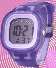 DW358F Chronograph Hälytys Valkoinen Kehys silikoni Violet Band Boy Girl Digital Watch