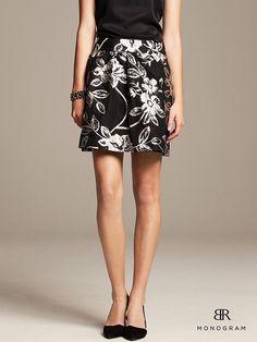 Banana Republic BR Monogram Floral Jacquard Full Skirt on shopstyle.com