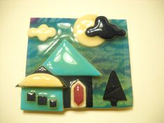 HOUSE PIN by LUCINDA---Turquoise House, Black Tree & Cloud, White Moon (3736)