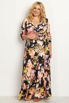 navy print sash tie plus size maternity/nursing maxi dress