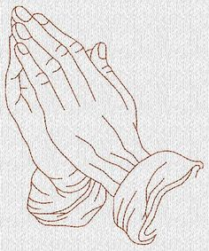 Praying Hands Redwork Machine Embroidery Designs by embroiderygirl