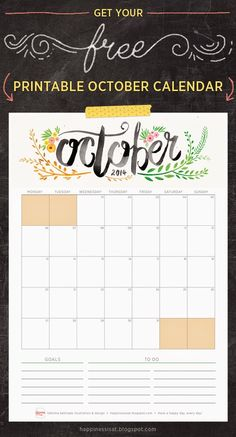 Happiness is... October 2014 Free Printable Calendar.. This gorgeous calendar is getting printed and stuck on my fridge ASAP!