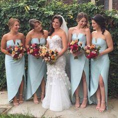 Unique Charming Simple Design Side Split Sexy Cheap Wedding Party Bridesmaid Dresses, WG179