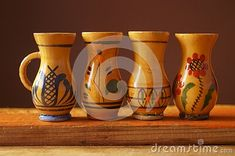 Background with wooden jugs with romanian pattern Vase, Mugs, Tableware, Pattern, Home Decor, Dinnerware, Decoration Home, Room Decor, Tumblers