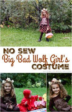 No Sew Big Bad Wolf Girl Costume on www.girllovesglam.com