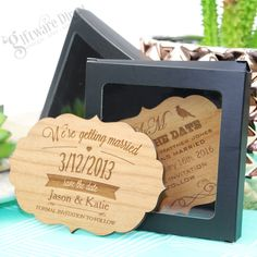 Our stunning vintage inspired wooden Save The Dates are sure to amaze your friends and family. Cherry timber professionally laser engraved with your details to create an everlasting memory. Supplied with a magnet on the back for easy display. Announce your upcoming nuptials in style with quality 4mm thick timber capped off with laser cut and laser engraved detail. Gift boxes also available. #GiftwareDirect #savethedate #wooden #vintage