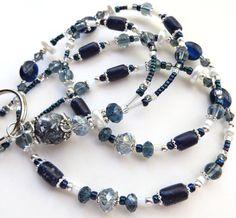 NAUTICAL Beaded ID Lanyard Badge Holder Pearls by CJsInspirations