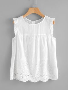 Vacation and Preppy Scallop and Cut Out and Button and Frill Plain Top Regular Fit Round Neck Sleeveless White Eyelet Embroidered Scallop Hem Frilled Shell Top Summer Shirts, Summer Tops, Fashion News, Fashion Outfits, Fashion Fashion, Vintage Fashion, Mode Boho, Plain Tops, Shell Tops