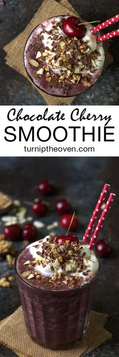 This gluten-free, vegan chocolate cherry smoothie is topped with a cloud of whipped coconut cream and showered with toasted almonds and chocolate shavings. You won't believe it's actually good for you!