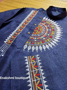 Embroidery On Kurtis, Hand Embroidery Dress, Hand Embroidery Videos, Embroidery On Clothes, Embroidered Clothes, Embroidery Works, Fabric Painting On Clothes, Fabric Paint Shirt, Paint Shirts