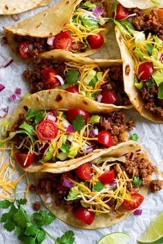 Ground Beef Tacos ( and 10 More Taco Recipes!) Cooking Classy These Ground Beef Tacos are made with a deliciously seasoned ground beef filling, served in corn tortillas and finished with all the best toppings. Homemade Tacos, Homemade Taco Seasoning, Healthy Foods To Eat, Healthy Dinner Recipes, Tacos Mexicanos, Ground Beef Tacos, Ground Meat, Ground Beef Street Tacos Recipe, Lentil Recipes