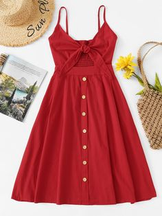 Single Breasted Front Knot Cami Dress Red Fit and Flare Slip Casual Dress Spaghetti Strap Sleeveless Dress Cute Dresses, Casual Dresses, Fashion Dresses, Summer Dresses, Casual Clothes, Clothes Women, Fashion Styles, Spring Outfits, Trendy Outfits