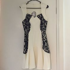 White With Black Lace Sweetheart Dress