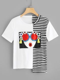 Casual Figure Regular Fit Round Neck Short Sleeve Pullovers Black and White Regular Length Figure Print Fringe Detail Asymmetric Hem Tee Cool T Shirts, Tee Shirts, T Shirt Painting, Vetement Fashion, Latest T Shirt, Mode Style, Shirt Designs, Clothes, Fashion Styles