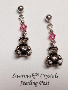 Teddy Bear Sterling Silver post earrings w/ Rose Pink Swarovski crystals by…