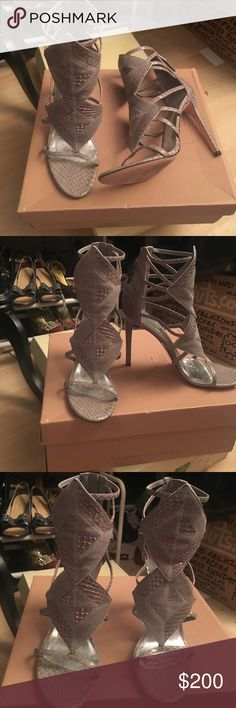 Brian Atwood leather sandals Light gray, snake skin pattern, zips in back, hits above the ankle sandals, worn once, perfect condition! Brian Atwood Shoes Sandals