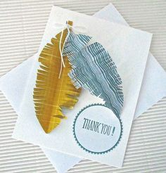 Thank you card stamped handmade by QuirkynBerkeleyCards on Etsy, $5.50