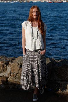 Sahara Wave Stripe Jersey Skirt
