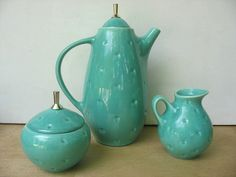 Turquoise Mid Century Coffee Pot Creamer Sugar set by luckduck