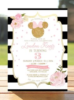 Pink & Gold Glitter Minnie Mouse Birthday by WisemonkeyPaperie Minnie Mouse Theme Party, Minnie Mouse Birthday Invitations, Tea Party Invitations, Minnie Mouse Cake, Digital Invitations, 3rd Birthday Cakes, Fourth Birthday, 2nd Birthday Parties, Girl Birthday