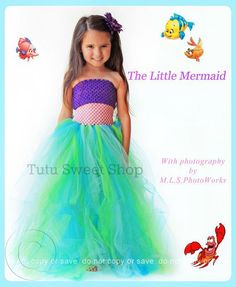 Handmade Ariel Inspired Tutu Dress Costume http://www.tutusweetshop.com/item_862/Handmade-Ariel-Inspired-Tutu-Dress-Costume.htm