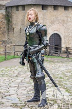 """Female armor kit made of blackened spring steel """"Dark Star"""" for sale. Available in: stainless, blackened spring steel, mirror polishing, satin polishing :: by medieval store ArmStreet Female Armor, Female Knight, Medieval Armor, Medieval Fantasy, Pauldron, Landsknecht, Knight Armor, Crusader Knight, Spring Steel"""