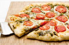 Pesto Pepperoni Pizza on New York Times No-Knead Two-Day Crust (Pesto, Pepperoni, Mozzarella, Tomato Slices) [Made March 3, 2013]