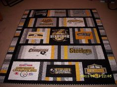 Steelers T-Shirt Quilt - good idea if you can find old shirts at second hand stores, or on clearance. Like this t shirt quilt Quilting Tips, Quilting Projects, Quilting Designs, Sewing Projects, Sewing Ideas, Quilt Design, Layout Design, Sewing Tips, Craft Projects