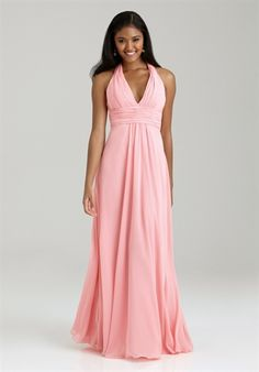 Allure Bridesmaids Bridesmaid Dress // Style 1322 // A-line Halter, floor length dress in chiffon