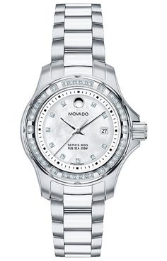 Series 800 - Women's Series 800 Sub-Sea watch, Performance Steel™ case with diamonds, white mother-of-pearl dial with 10 diamond markers, Performance Steel™ link bracelet, Swiss quartz movement