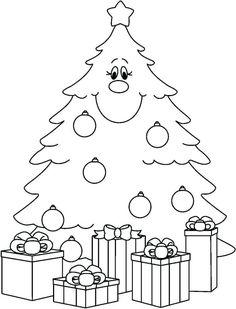 gratis malbild mit einem weihnachtsbaum | ausmalbild weihnachtsbaum, ausmalbilder weihnachten