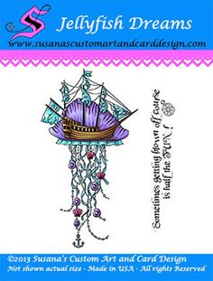 Susana Loves Stamps - Mechanicals - Jellyfish Dreams - coloured on Make it Colour Blending Card with Copic and ShinHan Touch Twin markers.  Available in the US from www.susanascustomartandcarddesign.com . Available in the UK/Europe at www.quixoticpaperie.co.uk