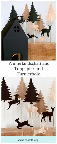 DIY: Winterlandschaft basteln aus Papier und Holz - Chalet8 Winter Diy, Diy Upcycling, Xmas, Christmas Ideas, Moose Art, Crafty, Paper, Animals, Inspiration