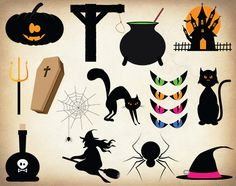 Halloween Clipart. Halloween Illustration. by allDigitalPapers