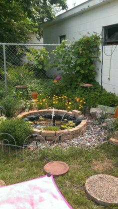 "This was the 2013 (before I started over)version of my ""homemade fountain"". Redoing spring 2014.."