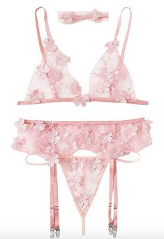 Buy SheIn Women's Floral Appliques Mesh Sheer Sexy Garter Lingerie Set with Choker: Shop top fashion brands Lingerie Sets at ✓ FREE DELIVERY and Returns possible on eligible purchases Lingerie Set, Women Lingerie, Online Shopping Usa, Shopping Stores, Gifts For My Sister, Garter Set, Flower Applique, Applique Designs, Fashion Brands