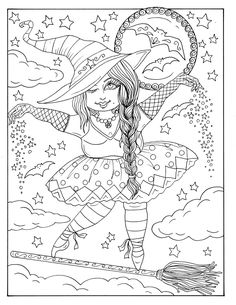 Deborah Muller Art / ChubbyMermaid Witch Coloring Pages, Free Adult Coloring Pages, Halloween Coloring Pages, Coloring Books, Coloring Sheets, Halloween Pictures To Draw, Witch Pictures, Halloween Fun, Fathers Day Crafts