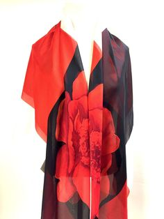 GIDEON OBERSON Black/White/Red Color-Block Floral Print Silk Shawl/Beach Cover-Up