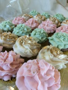 Baby pink, mint and dusted gold cream cupcakes by Inphinity Designs. Please visit my Facebook page Inphinity Designs by Kandy Lloyd to order. Located in San Antonio, Tx.