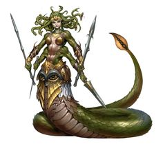 Livya, Descendant of Medusa. Fantasy Demon, Fantasy Races, Fantasy Monster, Fantasy Girl, Dark Fantasy, Mythological Creatures, Fantasy Creatures, Mythical Creatures, Fantasy Character Design