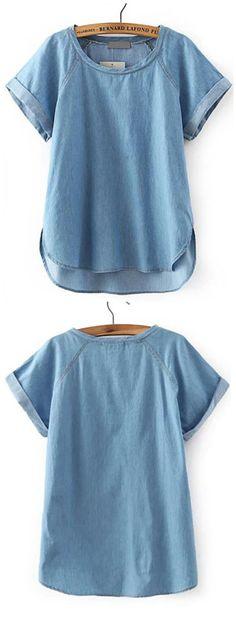 Blue Short Sleeve Dip Hem Boyfriend Trends Jean Swish Denim Blouse
