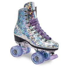 Sure-Grip Prism Sparkling Unisex Roller Skates - Indoor Outdoor Skates with Vegan Silver Reflective Boot - Made in USA Figure Skating Store, Quad Roller Skates, Vegan Boots, Elements Of Style, Skater Girls, Purple Lace, Roller Skating, Ice Skating, Burton Snowboards
