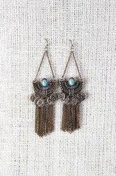 Ancient Semi-Circle Fringe Chain Earrings