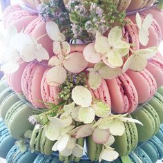 """LaurenConrad.com στο Instagram: """"on mondays, we eat macarons {a tower of beautiful pastel ones, adorned with flowers!}  #LCcelebrate"""""""