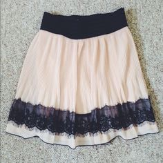 Charlotte Russe Adorable Skirt Pink with black lace trim. Elastic waistband. Charlotte Russe Skirts
