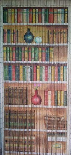 Beaded Door Curtains Bamboo Bookcase Wall Hanging Drapes Room Divider Art Beads #ABeadedCurtain #ArtsCraftsMissionStyle