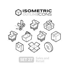 Isometric outline icons set 27 vector